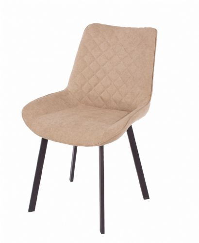 Pair of  Upholstered  Dining Chairs with Black Metal Legs